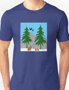 Winter scene with snow, bunnies, trees, and birds T-Shirt