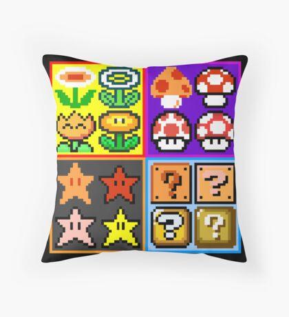 Mario Power-Up Evolution Throw Pillow