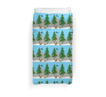 Winter scene with snow, bunnies, trees, and birds Duvet Cover