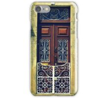 Wooden door with swirly white railings, Tomar, Portugal iPhone Case/Skin