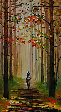 AUTUMN STROLL ON A HORSE - LEONID AFREMOV by Leonid  Afremov