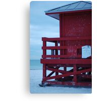 red, with tin roof Canvas Print