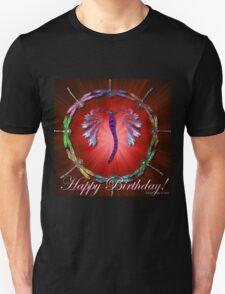 Red Dragonfly Dance Birthday Design T-Shirt