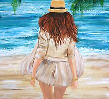 A Walk on the Beach - Acrylic on Canvas by Loreen Finn