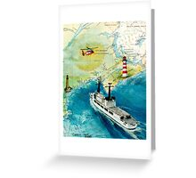 USCGC CHASE Helicopter Lighthouse Map Cathy Peek Greeting Card