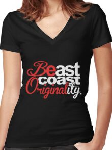 'Be'ast Coast 'Original'ity Women's Fitted V-Neck T-Shirt