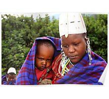 Sombre Mother & Child, Maasai, Kenya Poster