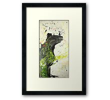Bear tries but his hands tell lies Framed Print
