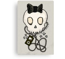 Girly Skull with Black Bow / Die for Music Canvas Print
