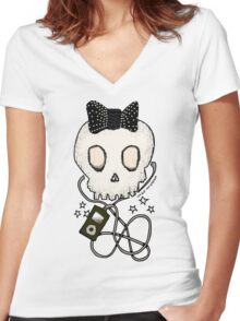 Girly Skull with Black Bow / Die for Music Women's Fitted V-Neck T-Shirt