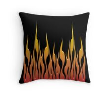 Flames on a black background Throw Pillow