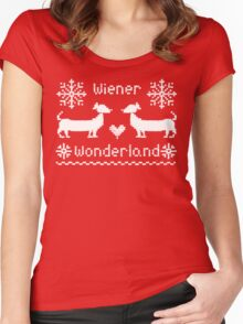 Wiener Wonderland in Festive Red - Dachshund Sausage Dog Women's Fitted Scoop T-Shirt