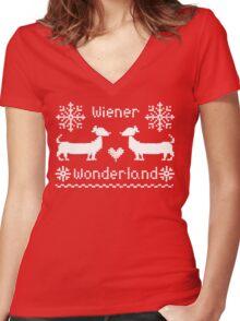Wiener Wonderland in Festive Red - Dachshund Sausage Dog Women's Fitted V-Neck T-Shirt