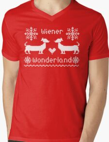 Wiener Wonderland in Festive Red Mens V-Neck T-Shirt