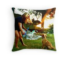 Puppies and Bubbles Throw Pillow