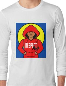 Cartoon African American Boy Wearing Red Hoodie Long Sleeve T-Shirt