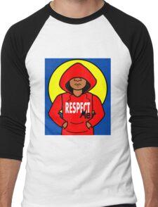 Cartoon African American Boy Wearing Red Hoodie Men's Baseball ¾ T-Shirt