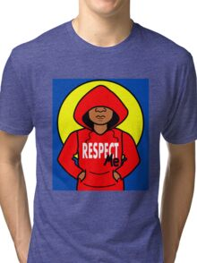 Cartoon African American Boy Wearing Red Hoodie Tri-blend T-Shirt