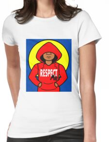 Cartoon African American Boy Wearing Red Hoodie Womens Fitted T-Shirt