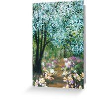 Flower Path - Acrylic on Wood Greeting Card