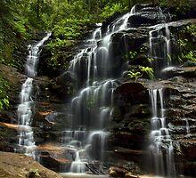 Sylvia Falls - Blue Mountains NP, NSW by Malcolm Katon