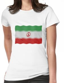 Iran flag with peace symbol Womens Fitted T-Shirt