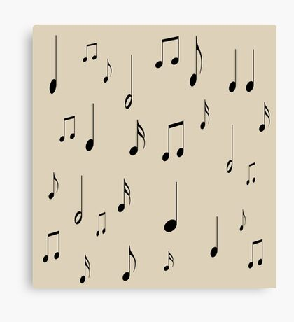 Musical notes on tan background Canvas Print