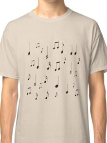 Musical notes on tan background Classic T-Shirt