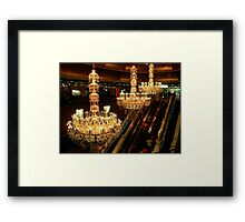 The Amazing Chandeliers at the Trump Taj Mahal, Atlantic City NJ - gold tint Framed Print
