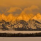 Grand Teton Winter Sunrise Panorama by Stephen Vecchiotti