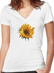 Sunflower Opening Women's Fitted V-Neck T-Shirt