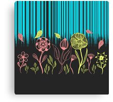 Hand Drawn Flower & Rain Scene Canvas Print