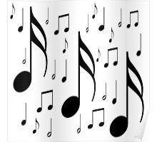 Musical notes on white background Poster