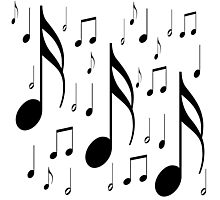 Musical notes on white background Photographic Print