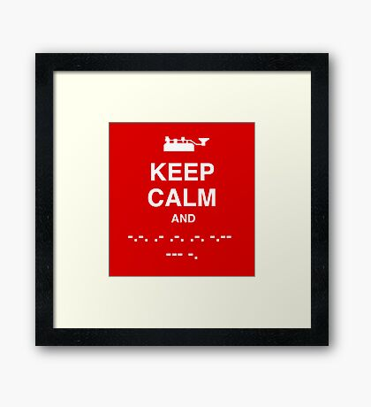 Keep Calm and Carry On - Morse Code T Shirt Framed Print