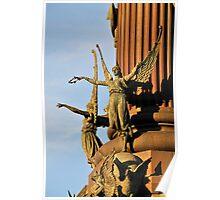 Pedestal detail, Columbus monument. Barcelona Poster
