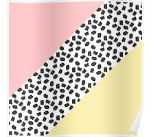 Yellow & Pink Color Blocks & Black Brushstrokes Poster