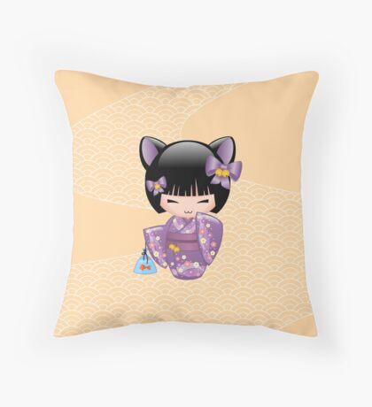 Japanese Nekomimi Kokeshi Doll Throw Pillow