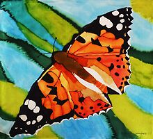 Painted lady butterfly on silk by © Pauline Wherrell