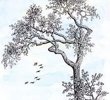 PENDRAWING TREE - BACKGROUND AQUAREL by RainbowArt
