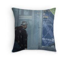 Neanderthal Man Meets Bus Stop Throw Pillow