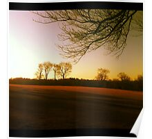 Evening Falls on the Fields at Waveny Park Poster