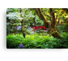 The Red Bridge - Japanese Garden - Butchart Garden - B.C. Canvas Print
