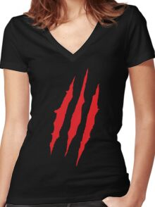Wolverine Claw Marks Women's Fitted V-Neck T-Shirt