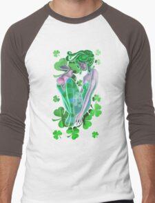 Irish Pinup Lady with a Bunny T-shirt Men's Baseball ¾ T-Shirt