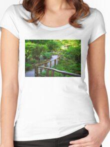 Stairs - Japanese Garden - Butchart Garden Women's Fitted Scoop T-Shirt