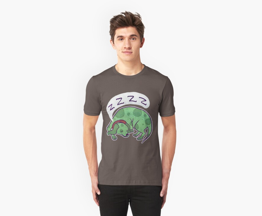 Sleepy Green Puppy T-shirt by SaradaBoru