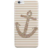 Gold Stripes Nautical Anchor iPhone Case/Skin