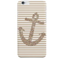 Gold Stripes Nautical Anchor iPhone Case/Skin