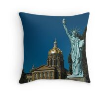Lady of Liberty at State Capitol Throw Pillow